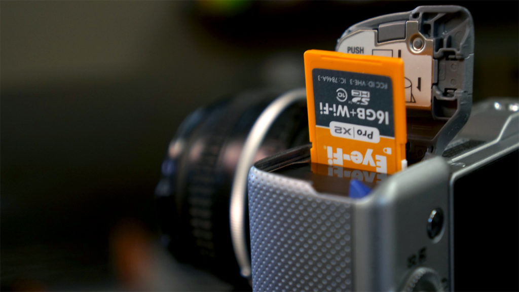 carte SD eye-fi dans un sony nex