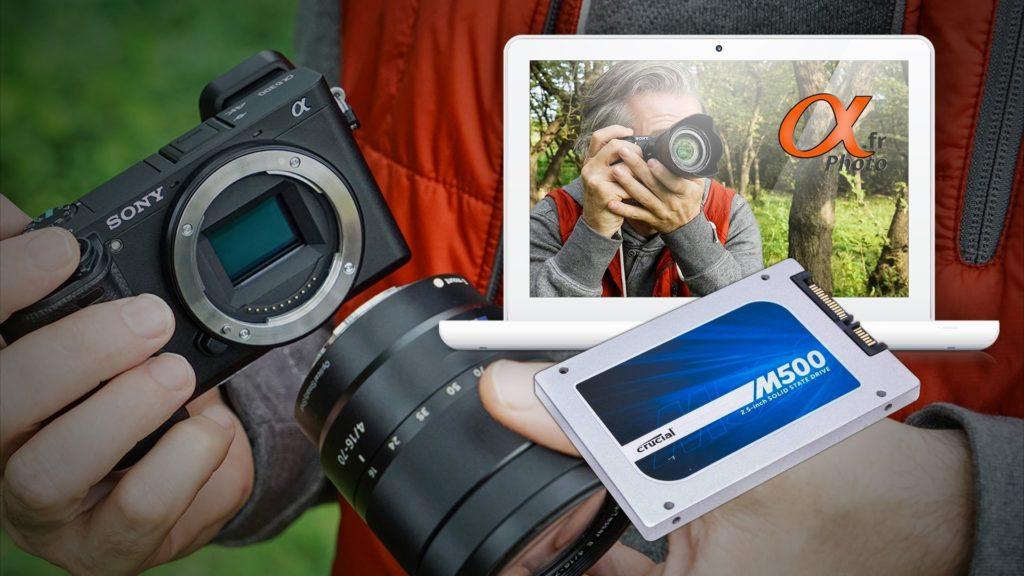 photomontage changement ssd crucial M500 sur un macbook blanc